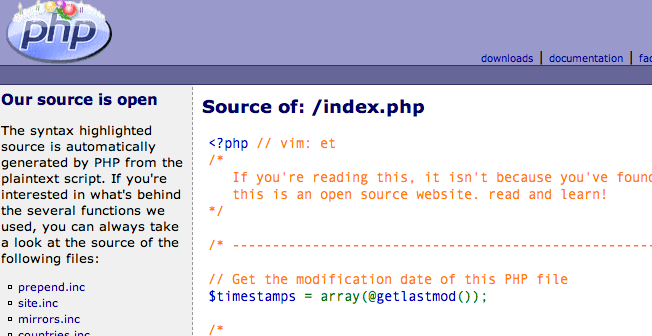 php.net source