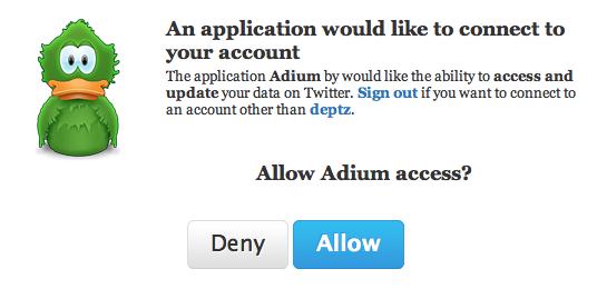 Allow Adium Access