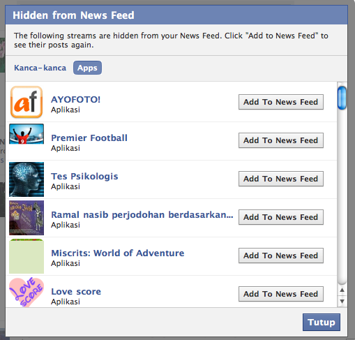 HIdden for News Feed (Apps)