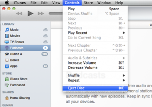 Eject disk via iTunes