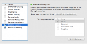 System Preferences -> Internet sharing